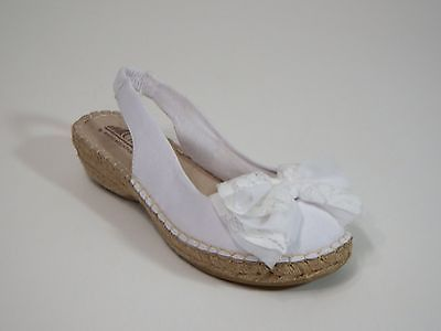 Sandals shoes womens 8 M Cliffs by White Mountain Sling Backs White Fabric $60