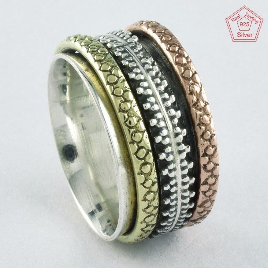 Sz 8.5 US,Fashionable Design 925 STERLING SILVER,BRASS,COOPER SPINNER RING,R4433 #SilvexImagesIndiaPvtLtd #Spinner #AllOccasions