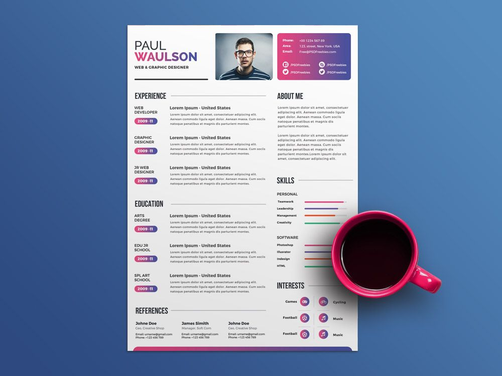 Free Multicolor PSD Resume Template for Any Opportunity