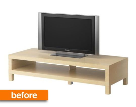 before after ikea lack space age tv stand pinterest. Black Bedroom Furniture Sets. Home Design Ideas