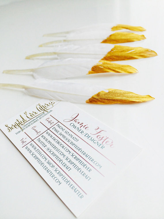 Gold dipped feather escort card embellishments Copy on Etsy, $1.25