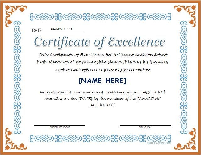 Free Printable Certificate Of Excellence Template Customize Award