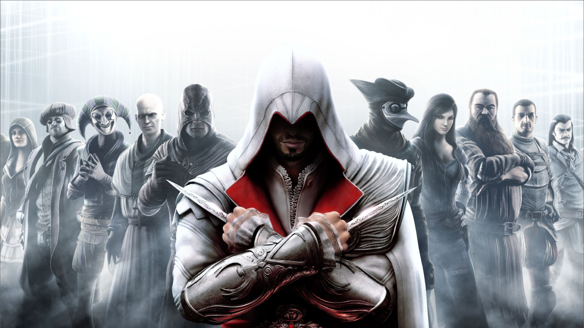 Download Wallpaper 1920x1080 Assassins Creed Warrior Faces Characters Look Full Hd Assassin S Creed Brotherhood Assassins Creed Assassin S Creed Wallpaper