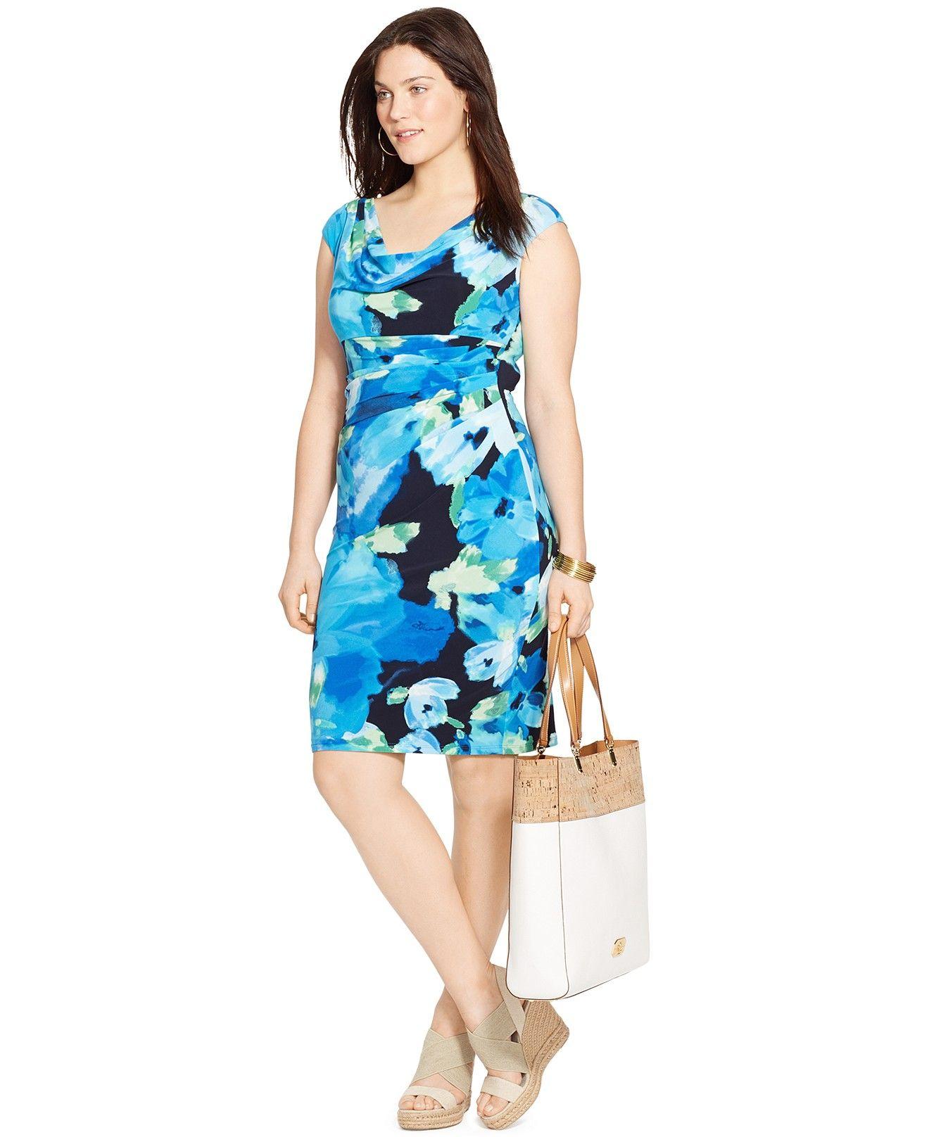 Lauren Ralph Lauren Plus Size Floral Print Cowl Neck Dress Dresses