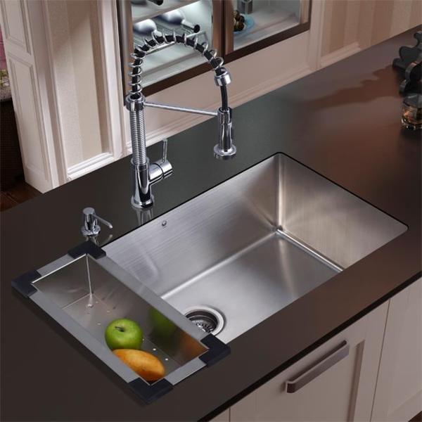 Overstock.com Vigo Stainless Steel Undermount Kitchen Sink Faucet ...