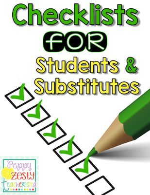Checklists For Students  Substitutes  Students Teacher And