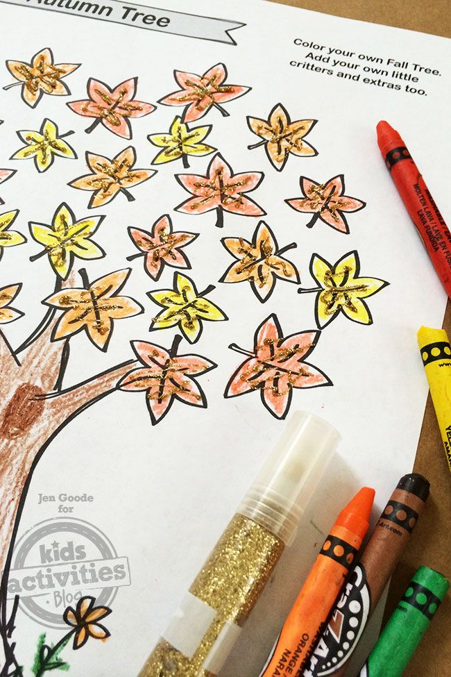 Free Kids Printable Fall Tree Coloring Page #falltrees