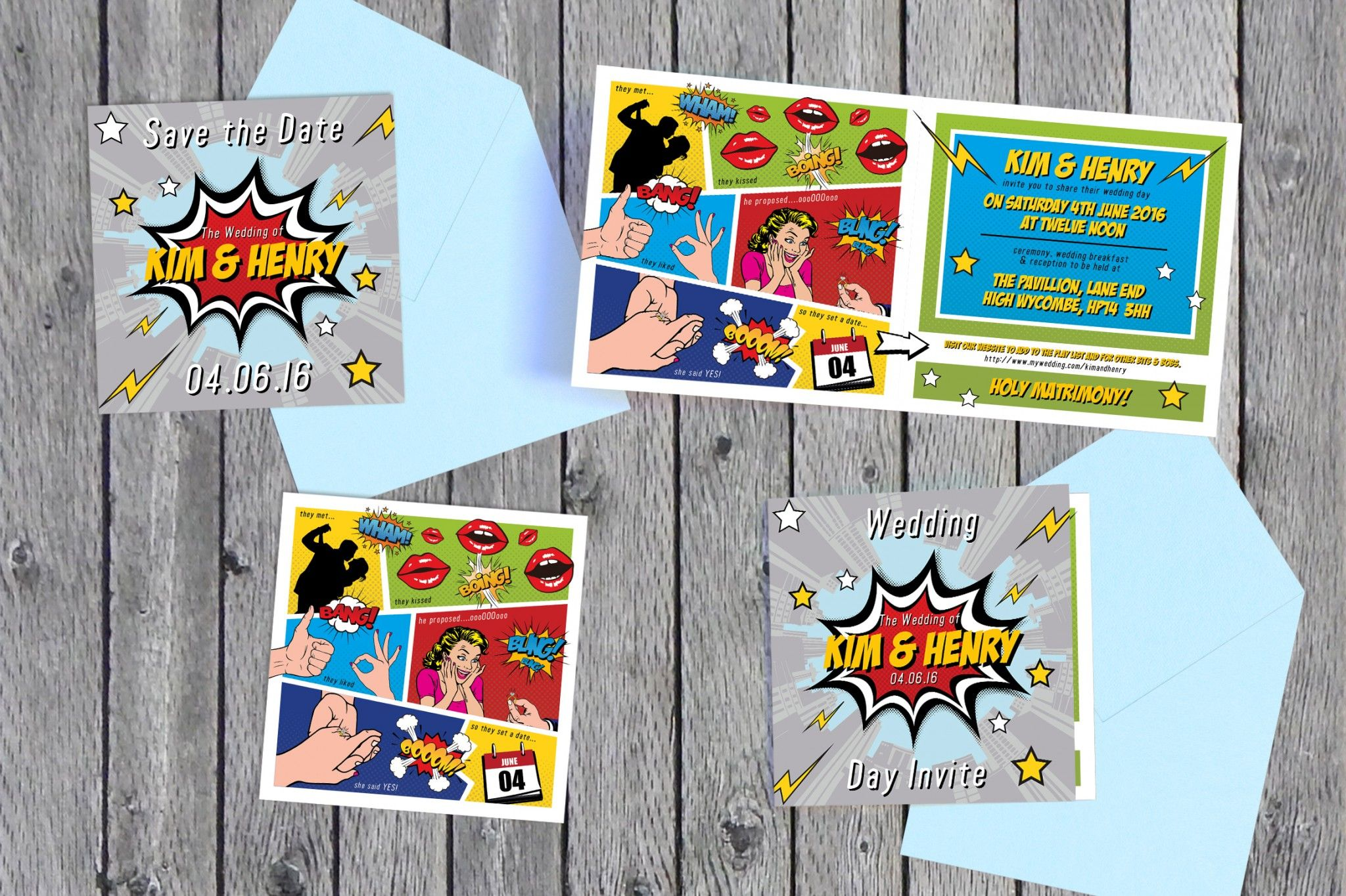 Superhero Wedding Invites