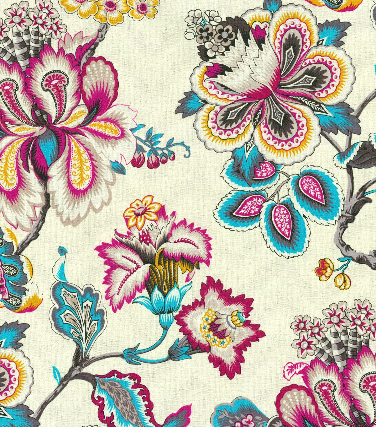 Create Lovely Projects With This Elegant Home Décor Fabric. Flowing  Graceful Floral Design With Vibrant