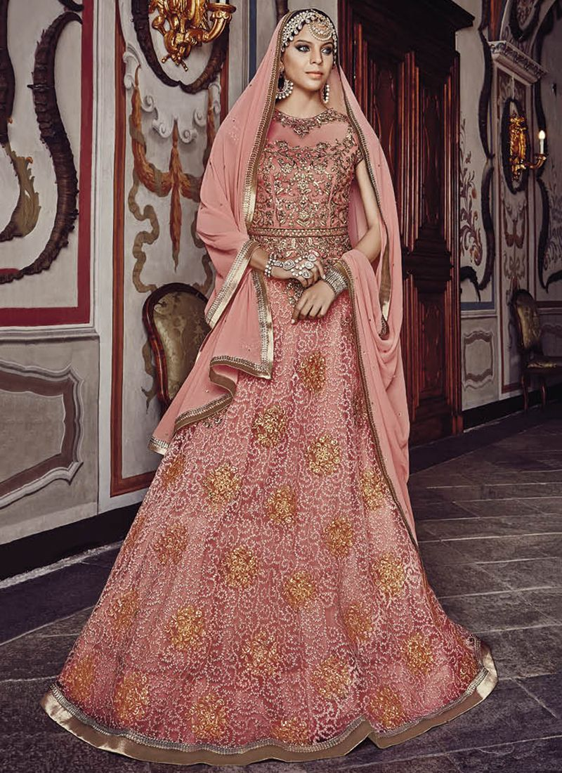Red heavy bridal anarkali frock 7 suitanarkali in - This Peach Colored Anarkali Suit In Net Fabric Goes Well With Any Occasion Shop Online Designer Anarkali Suit From Cbazaar