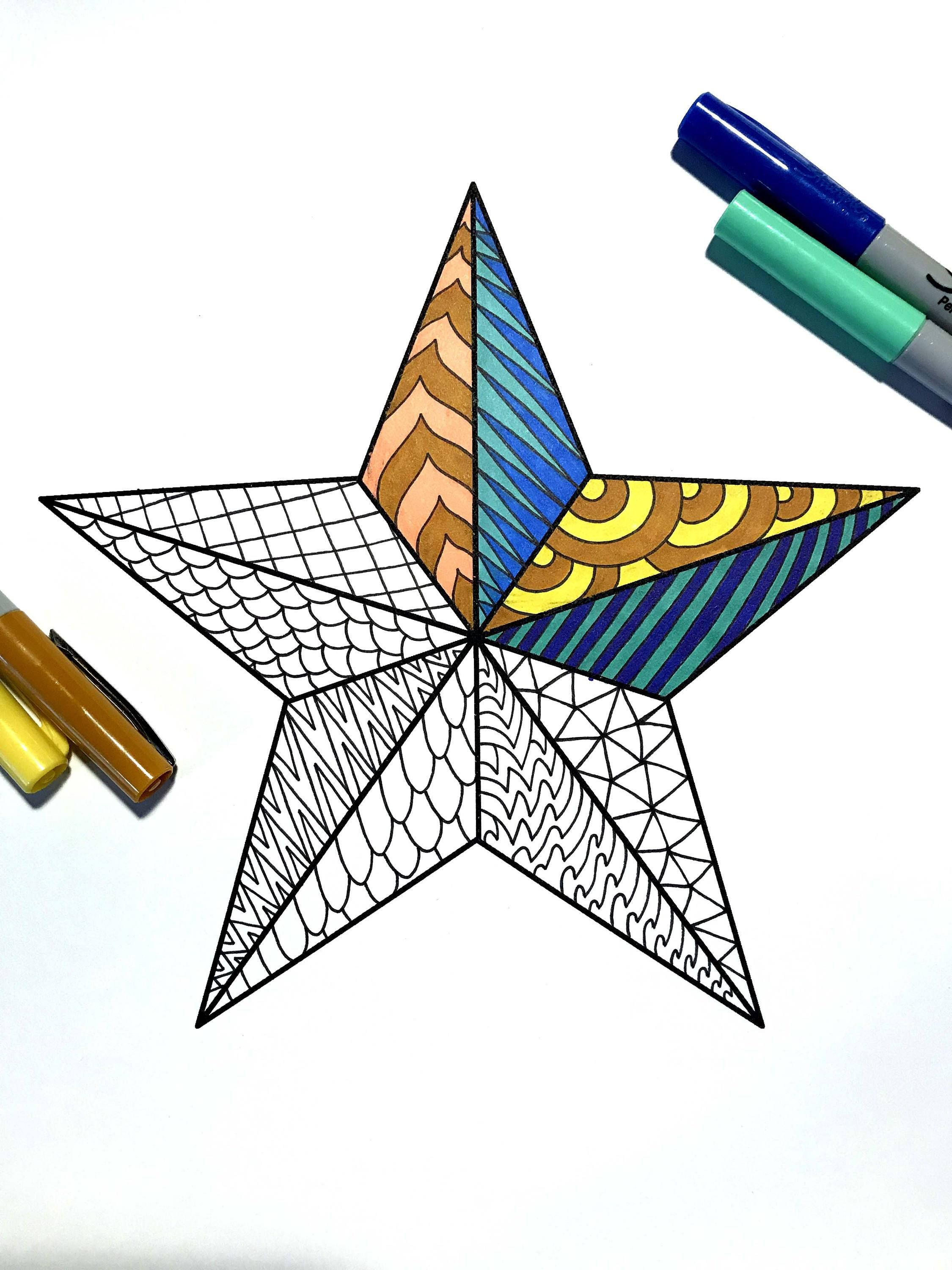 Nautical Star - PDF Zentangle Coloring Page   Coloring Pages ...
