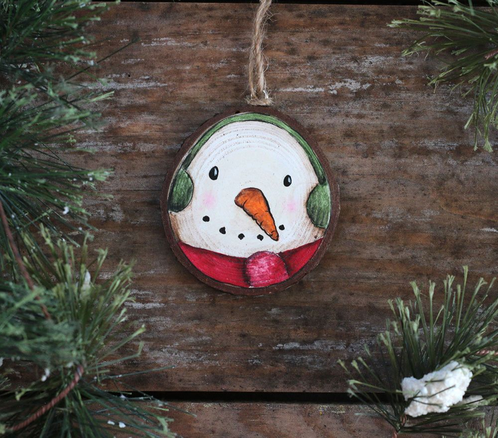 Personalized Ornament Snowman Hand Painted Wood Slice Country Christmas Decor Handmade Painted Christmas Ornaments Wood Slice Ornament Hand Painted Ornaments