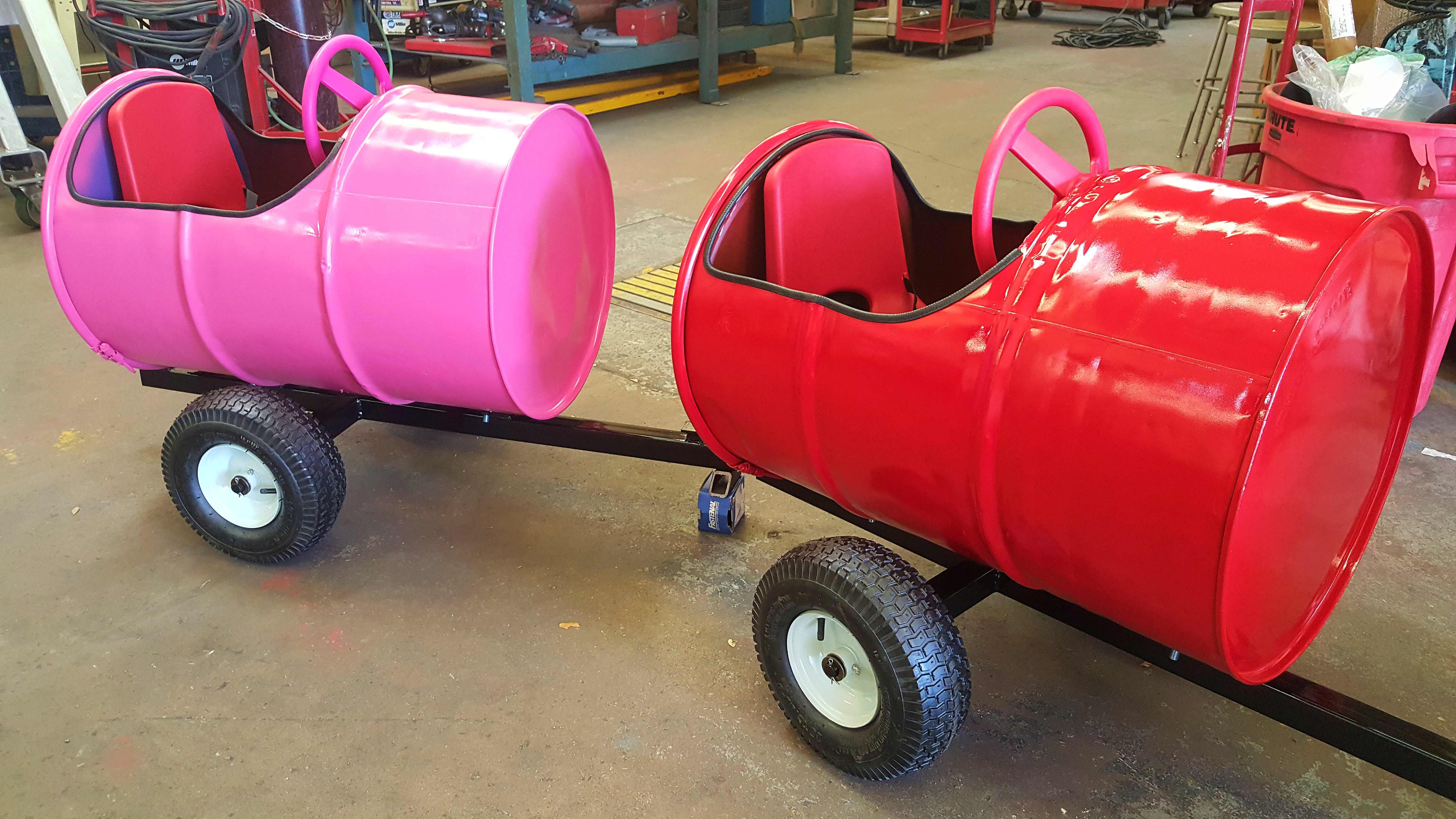 new 55 gallon barrel train car for some happy kids custom metal