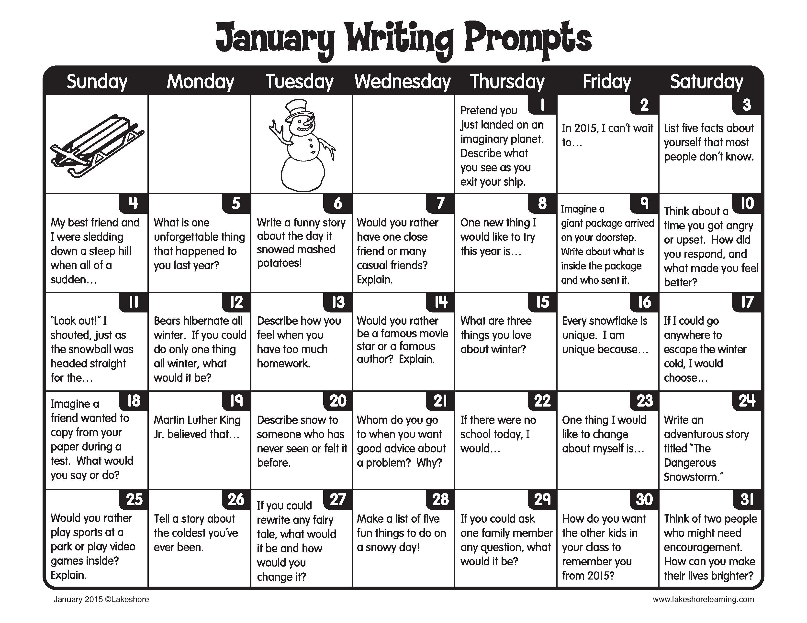 It S A Brand New Year Invite Children To Write Every Day In The Month Of January January Writing Prompts October Writing Prompts January Writing Creative writing prompts for third
