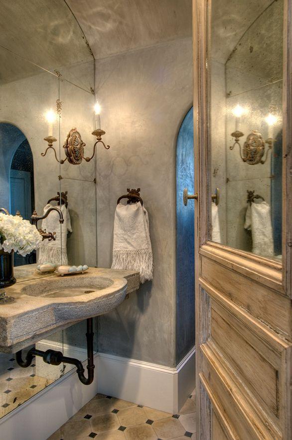 30 Exquisite Inspired Bathrooms With Stone Walls: Powder- Venetian Plaster Walls, Mirror Inset On Door