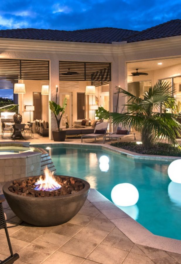 Globe outdoor light beautiful pools backyard patio and for Pool area designs