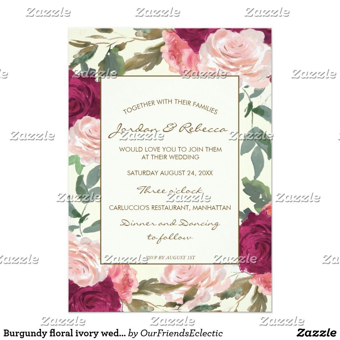 Burgundy floral ivory wedding or shower invitation