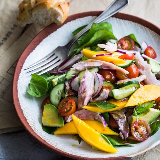 Mango and avocado smoked chicken salad by nadia lim nadialim this salad is brilliant in summer when mangoes and avocados are in abundance and making your own smoked chicken takes this recipe to the next level forumfinder Images