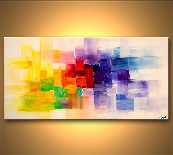 original contemporary modern abstract painting on canvas colorful palette knife by osnat 48x24. Black Bedroom Furniture Sets. Home Design Ideas