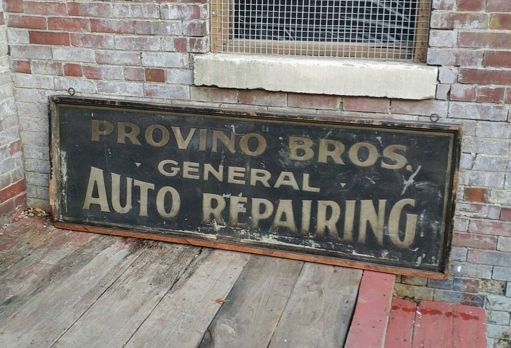 Early Original Smaltz Painted Auto Repair Wooden Sign
