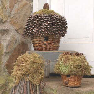 DIY: Basket Birdhouses. Leftover baskets cluttering up the basement? Turn them into rustic birdhouses trimmed with natural materials from your yard.