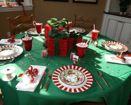 Wrapped Gift Boxes In Traditional Christmas Colors Centerpiece Christmas Table Centerpieces Diy Christmas Table Christmas Centerpieces