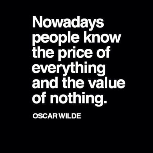 Value is not determined by price.