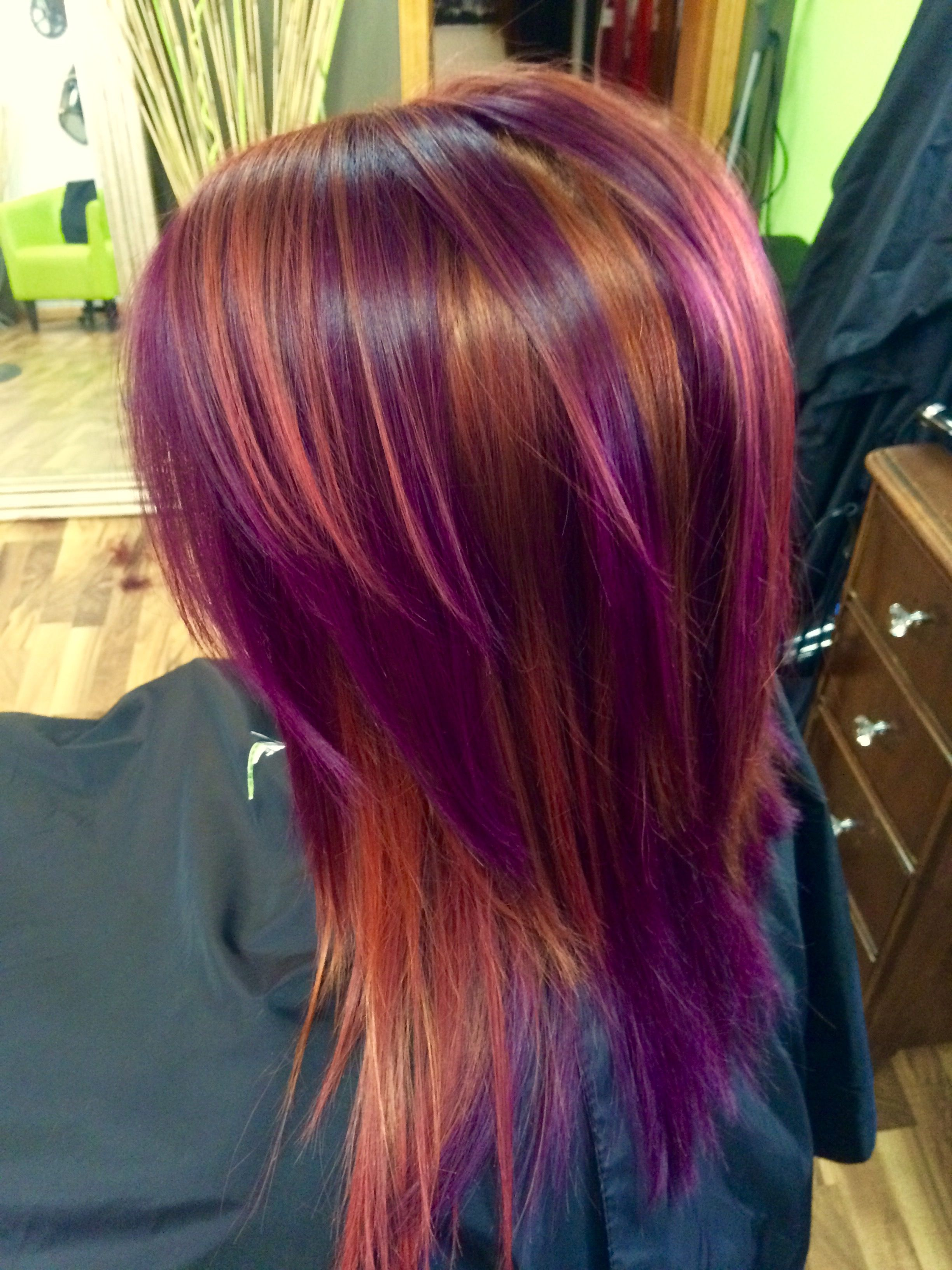 pinwheel color red copper and purple Goddess Hair