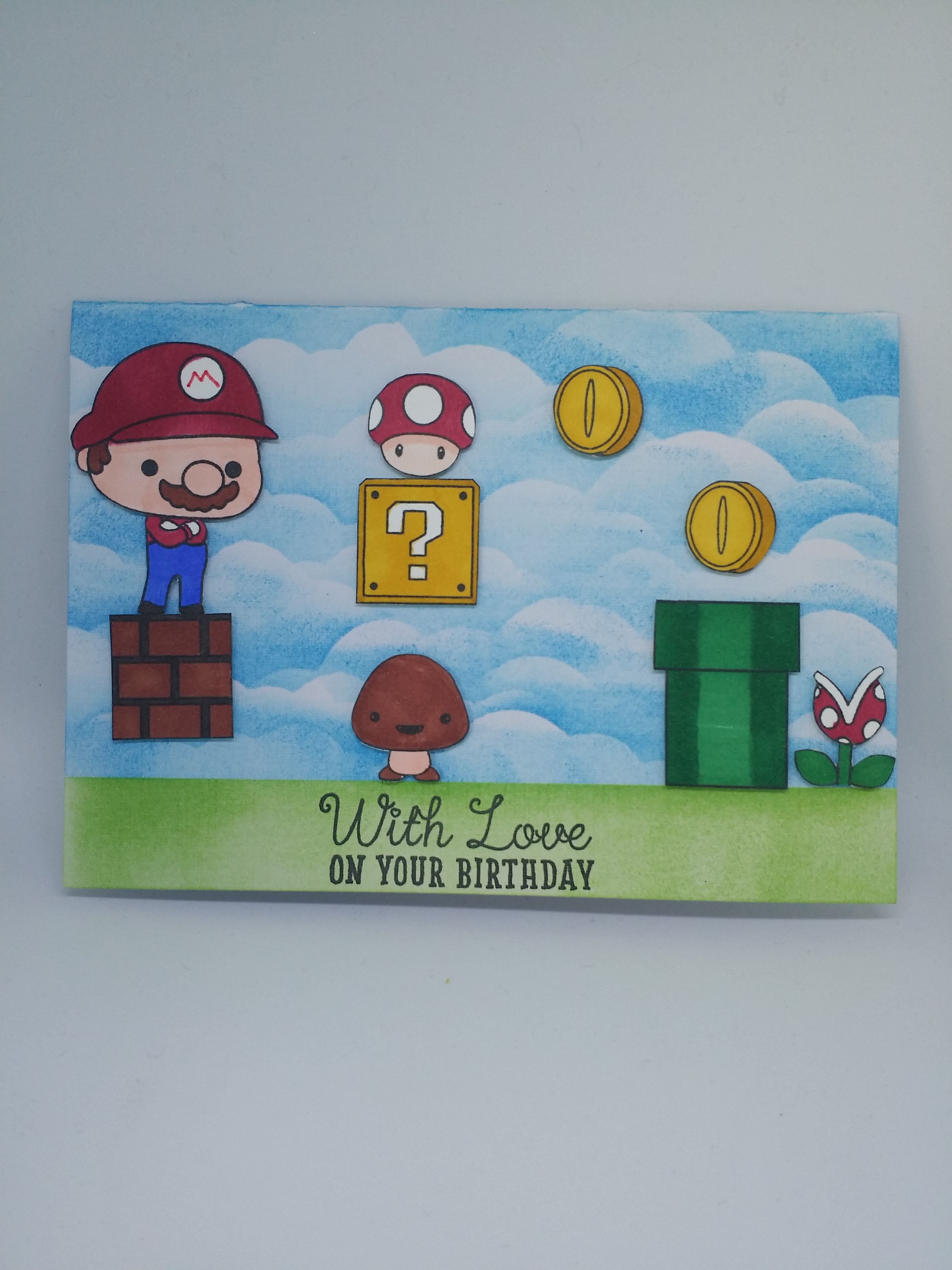Super Mario Birthday Card Stamped Cards Birthday Cards Birthday Cards Diy