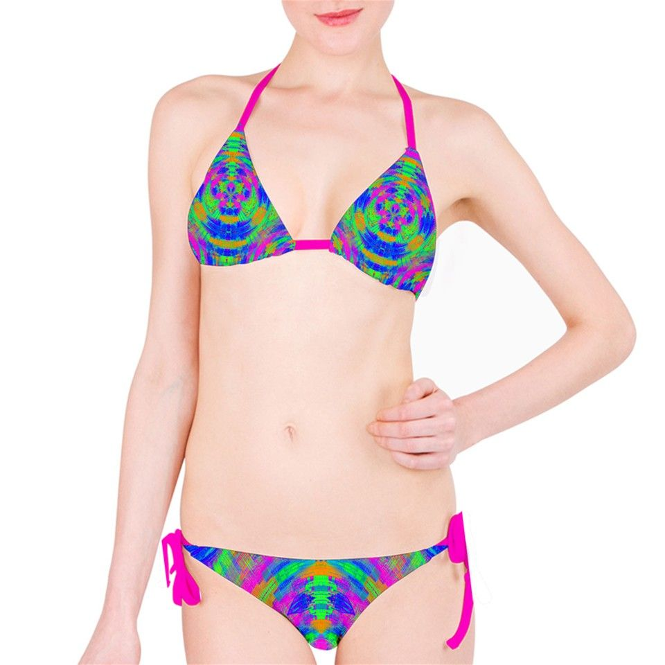 Candy Dots Bright Summer Colors. Neon Abstract Circles Bikini Set. This custom bikini set is the ultimate swimwear for your next relaxing getaway by the beach or pool. Our bikinis are made from nylon spandex (83% Nylon, 17% Spandex), offering comfort and flexibility. This 100% original bikini is sure to make you stand out from the crowd. Get yourself ready for the bikini season; design your own and we will help create a one-of-a-kind swimsuit that reflects your unique personality and…
