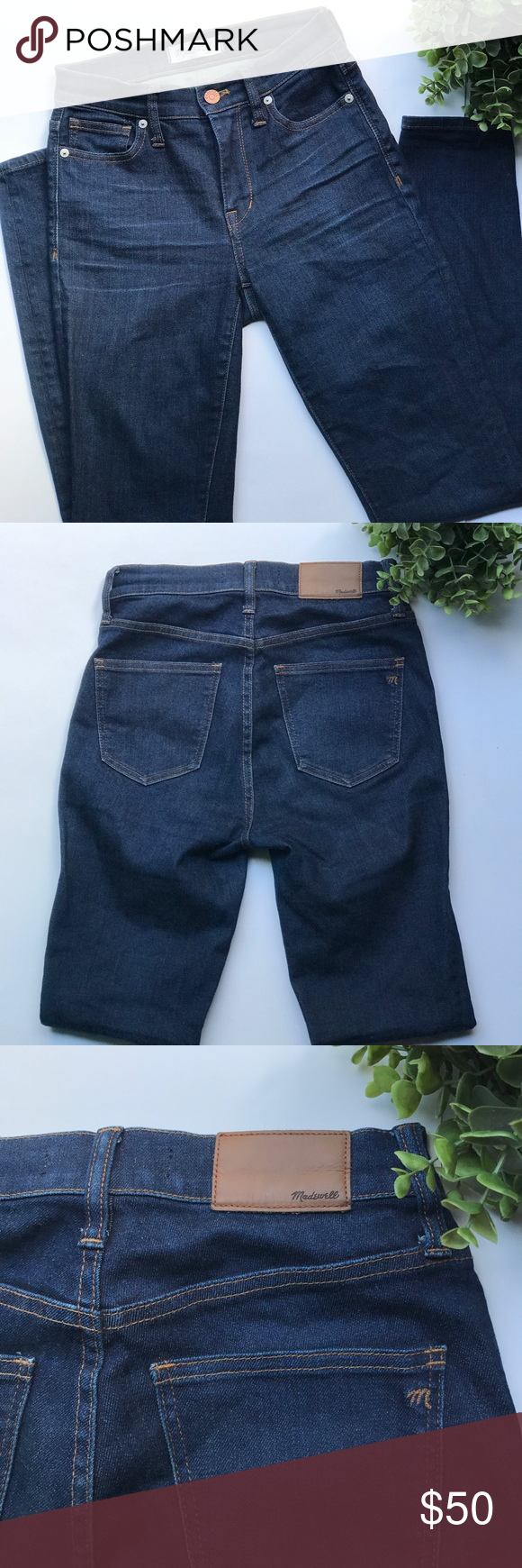 "MADEWELL High Riser Skinny in Davis Wash EUC!! Lean and sexy with a 9"" rise (right in '70s rock-muse territory), this one's legs-for-days look and supersleek effect come from using some of the best denim in the world.  Size 24 Inseam 28"" Madewell Jeans Skinny"