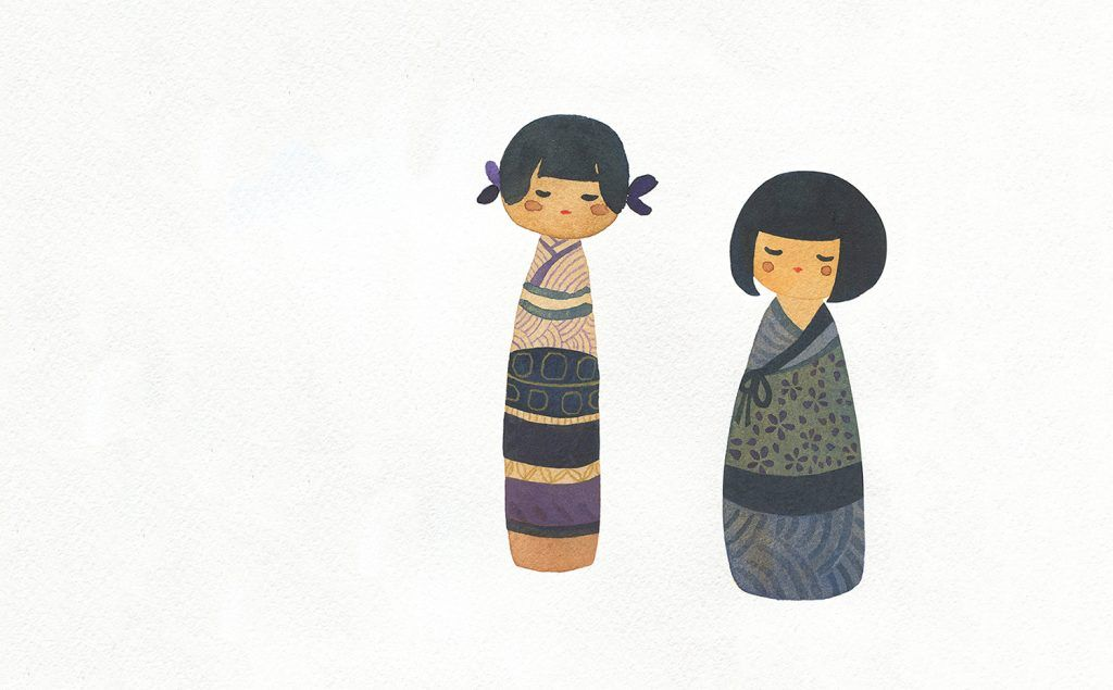Here are a couple of kokeshi dolls. Kokeshi were originally created as souvenirs for hot springs/onsen visitors to northern Japan during the Edo period...