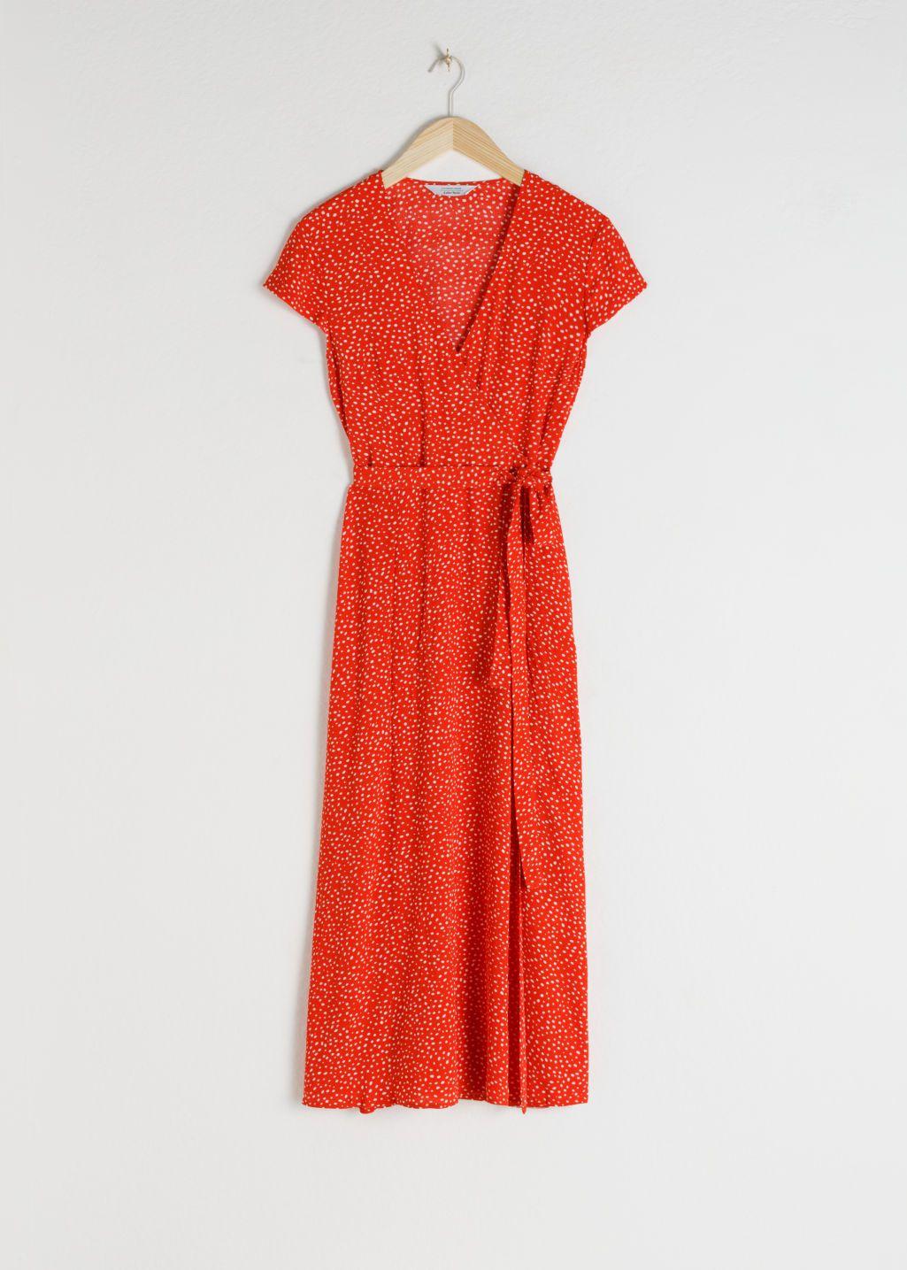 ed49a7f1d0e4 Polka Dot Midi Wrap Dress in 2019 | • outfits • | Pink midi dress ...