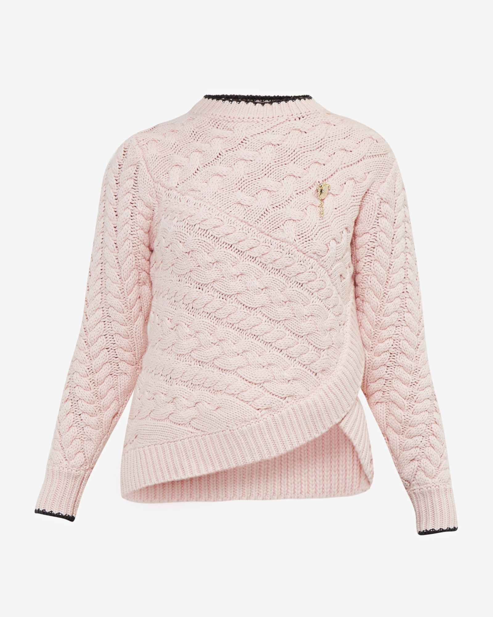 Asymmetric cable knit sweater - Pale Pink | Sweaters | Ted Baker ...