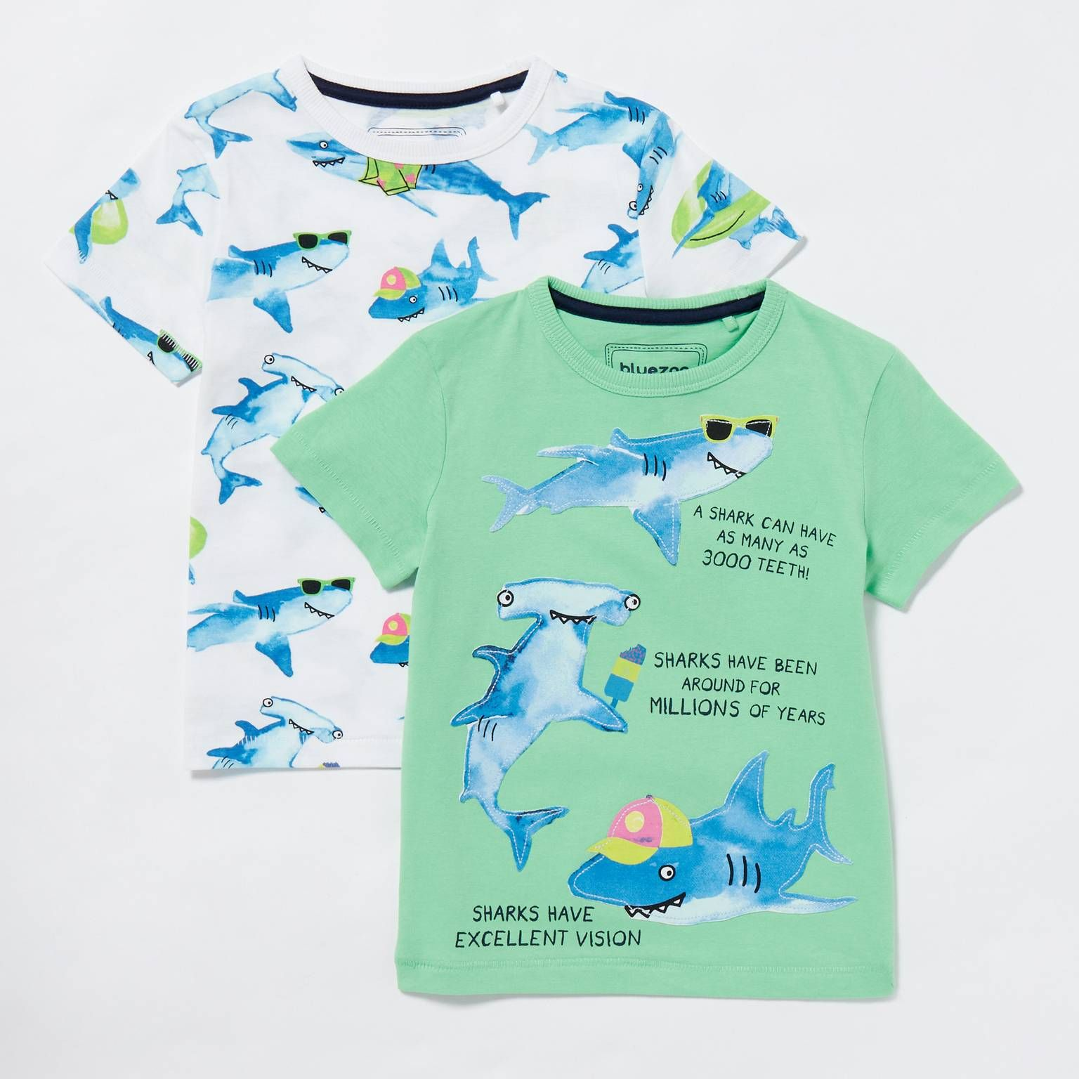 2 Pack Boys Green Shark T Shirts Shark T Shirt Boys Nightwear Boys [ 1536 x 1536 Pixel ]
