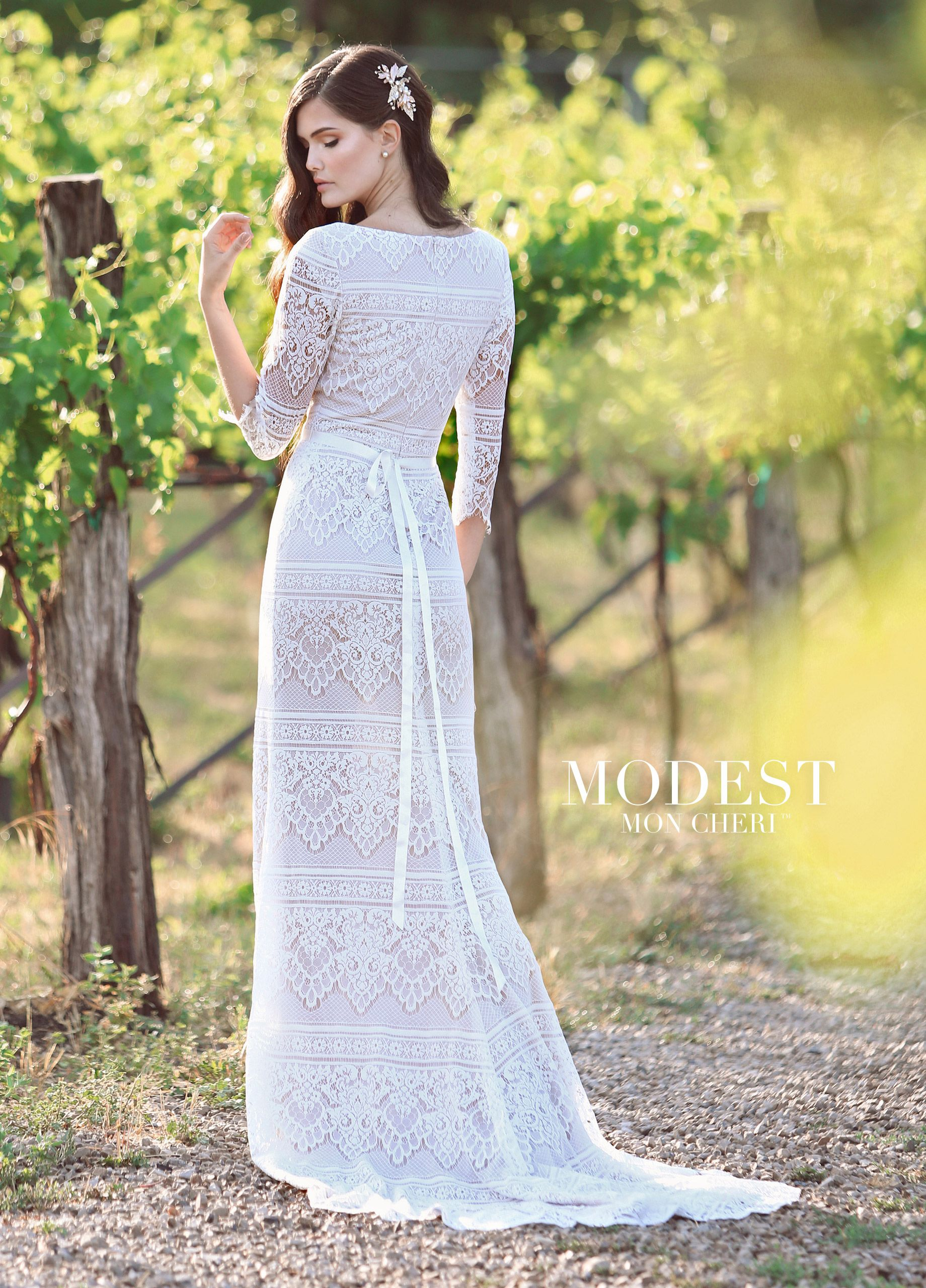 Embroidered lace wedding dress  Modest ThreeQuarter Sleeved Embroidered Lace Wedding Dress  Modest