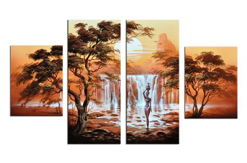 designbild wasserfall in afrika sonnenuntergang handgemalt leinwand 120 x 70 bild acryl wandbild. Black Bedroom Furniture Sets. Home Design Ideas