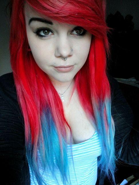 Bright Red And Bue Hair Scene Hair Tumblr Hair Dipped Hair