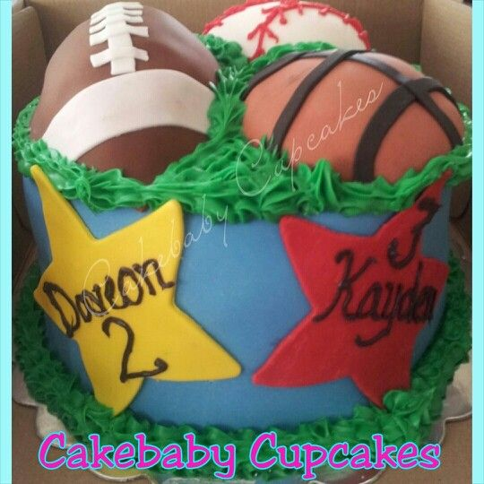 Custom Sports Themed One Tier Cake In Vanilla Bean For A Double Birthday Cakebabycupcakes Cakes Atlanta Delivery
