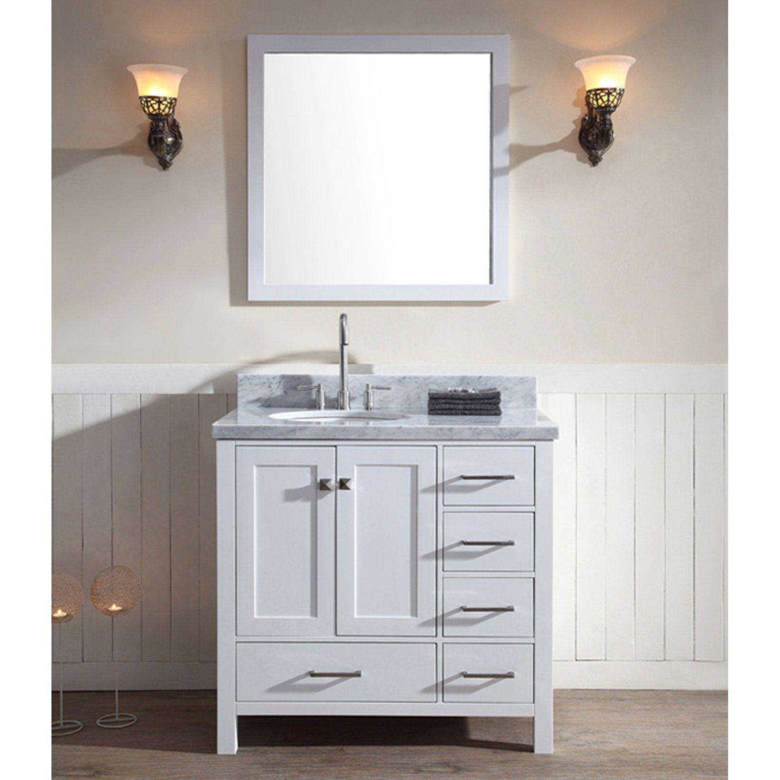Ariel A037s L Cambridge 37 In Single Bathroom Vanity Set With Left Offset Sink Single Bathroom Vanity Single Sink Vanity Vanity Sink