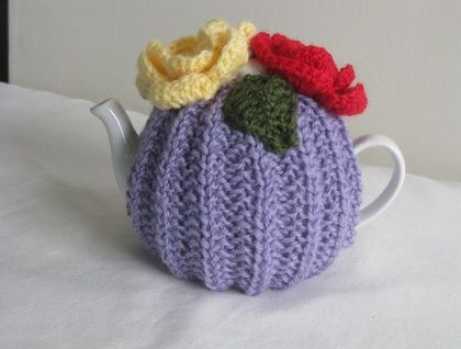 Hand Knitted Pure Wool Flower Tea Cosy size small