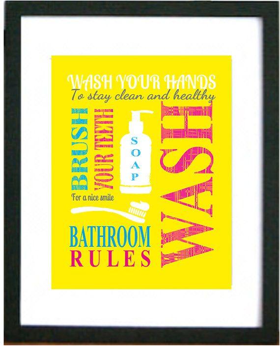 Kids Bathroom Art Prints, Wash Your Hands, Brush Your Teeth ...
