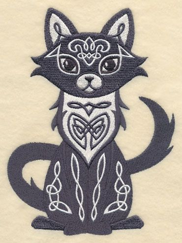Celtic Knotwork Cat Design K9001 From Emblibrary