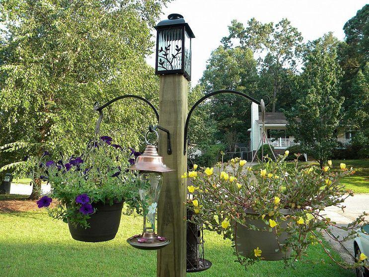 Build This Freestanding Bird Feeder and Flower Post Bird
