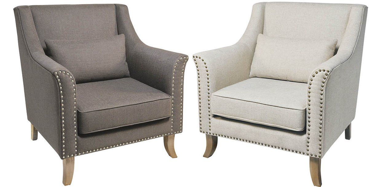 Grey Studded Adele Armchair With Cream Stella Chair