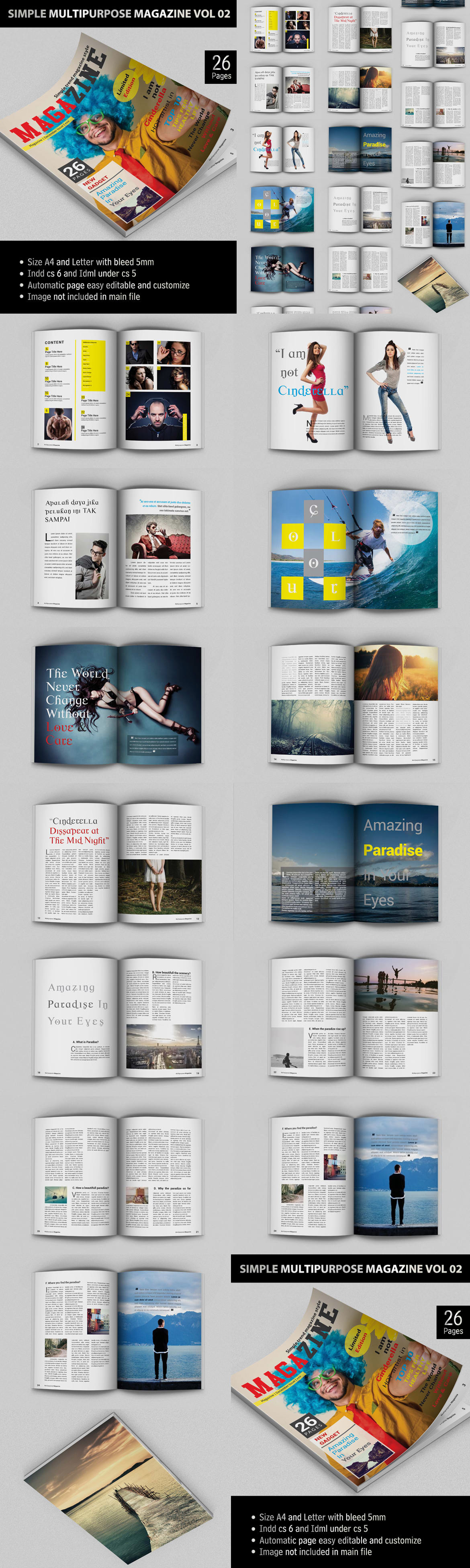 Simple Multipurpose Magazine Template Indesign Indd 26 Pages A4