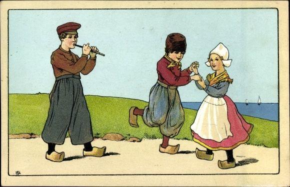 Artist Postcard Niederländer Paar tanzt zu Flötenmusik, | akpool.co.uk