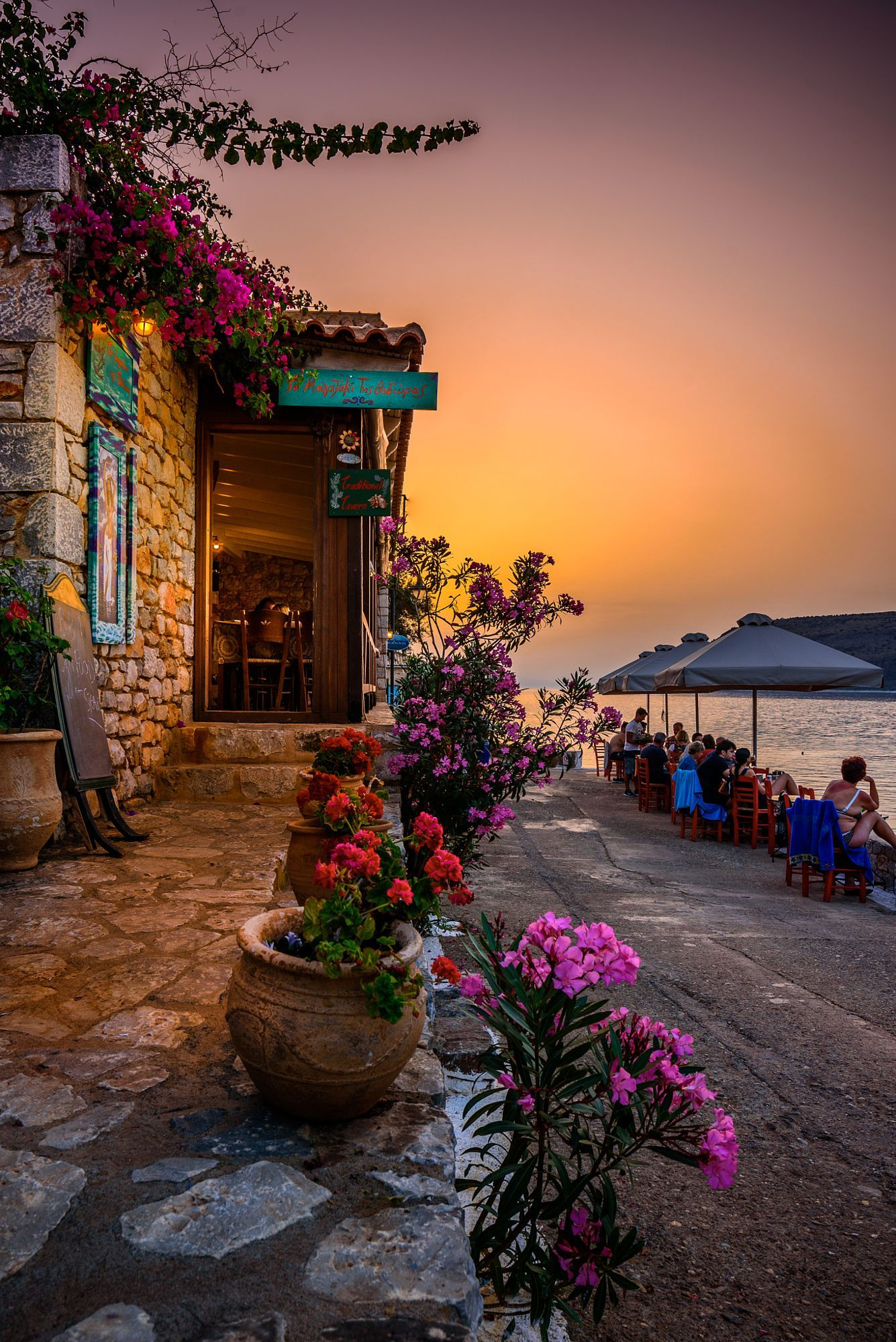 Taverna by the sea, Limeni, Mani, Greece | Beautiful places ...