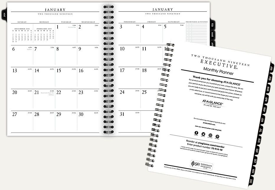Monthly Planner Refill For 70 N547 70914 At A Refillable
