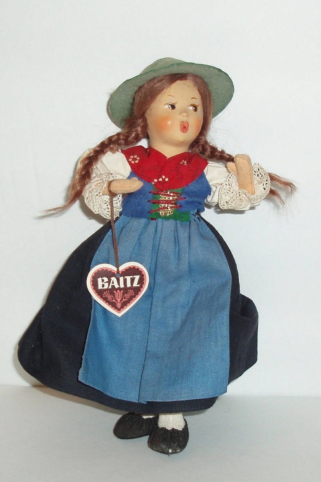 White lace apron ebay - 9 Vintage Baitz Austria Whistling Girl Doll Composition And Felt Wired Arms